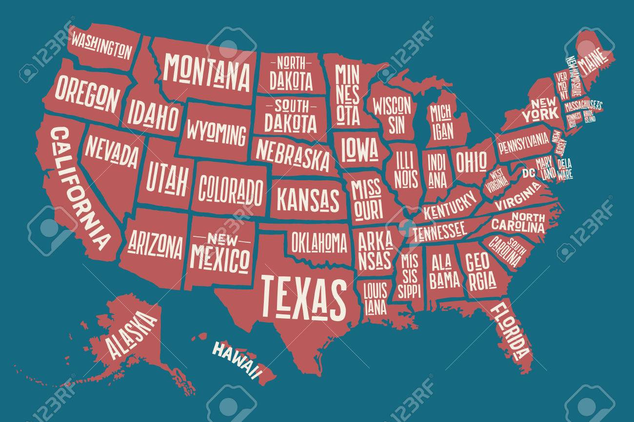 Kansas Us State Poster Map Of United States Of America With State Names Print