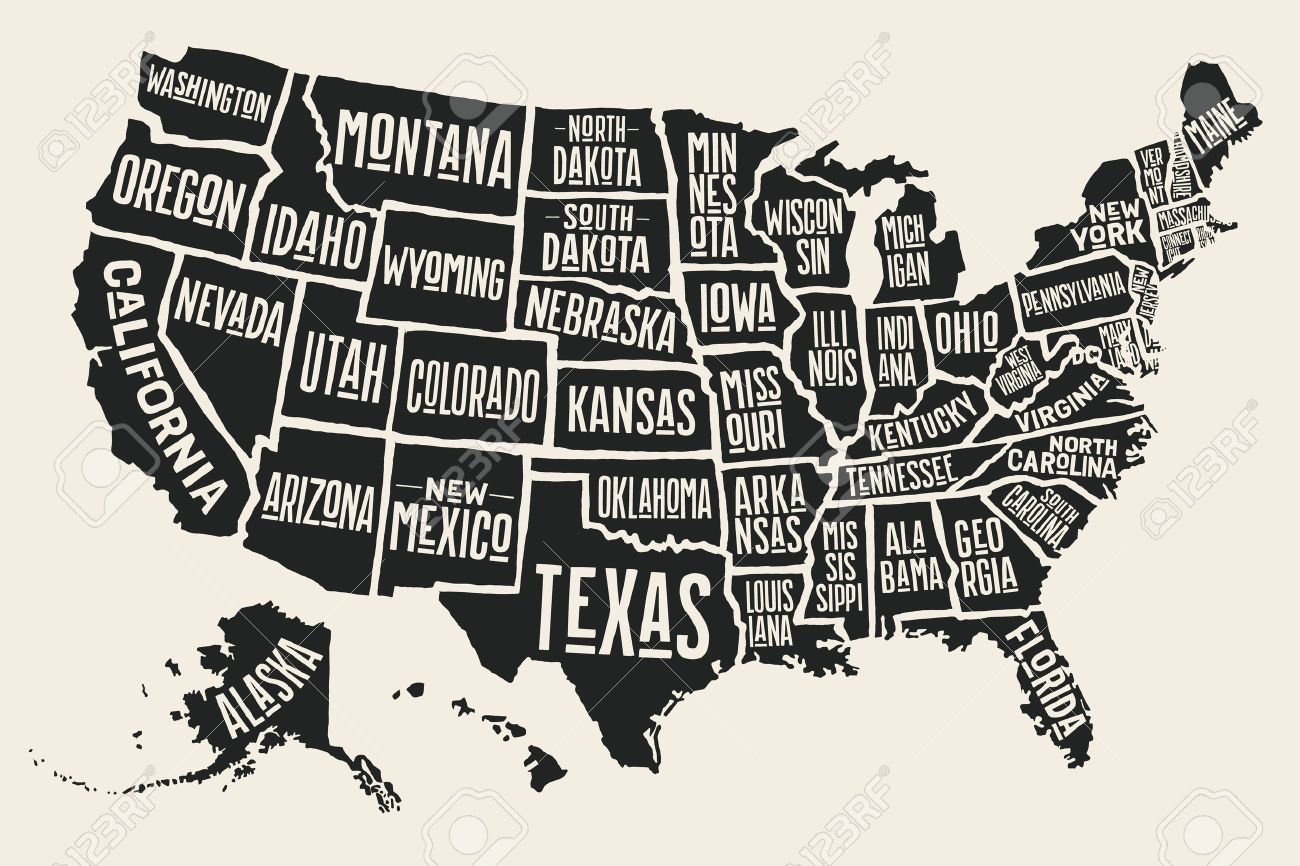 Poster map of United States of America with state names. Black and white print map of USA for t-shirt, poster or geographic themes. Hand-drawn black map with states. Vector Illustration - 63389110