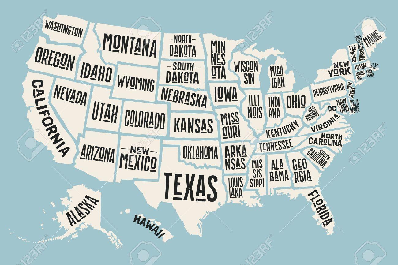 Florida Karte Drucken.Stock Photo
