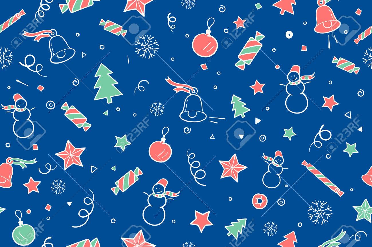 seamless pattern for christmas and happy new year theme classic elements on blue night background