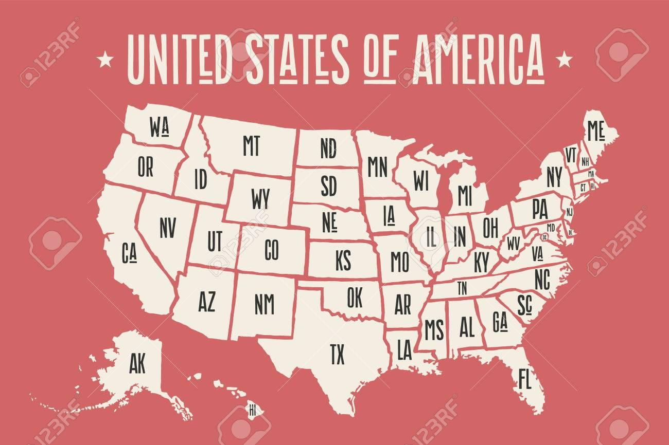 poster karte der vereinigten staaten von amerika mit staatsnamen drucken karte von usa fur t