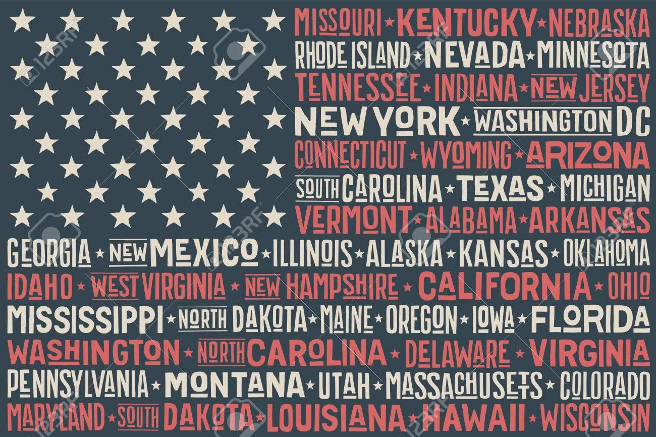 Affiche De Etats Unis D Amerique Flag Avec Les Etats Et Capitales Imprimer T Shirt De Drapeau Usa Avec Les Etats Nom Dessines A La Main Typographic Cru Colore Illustration Vecteur Clip Art Libres De