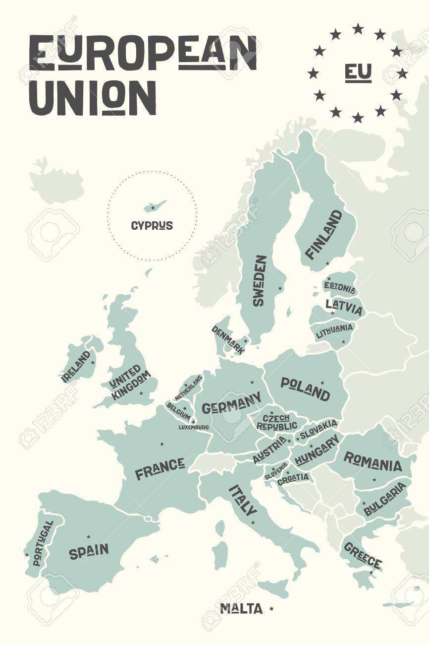 European Map With Country Names.Poster Map Of The European Union With Country Names And Capitals