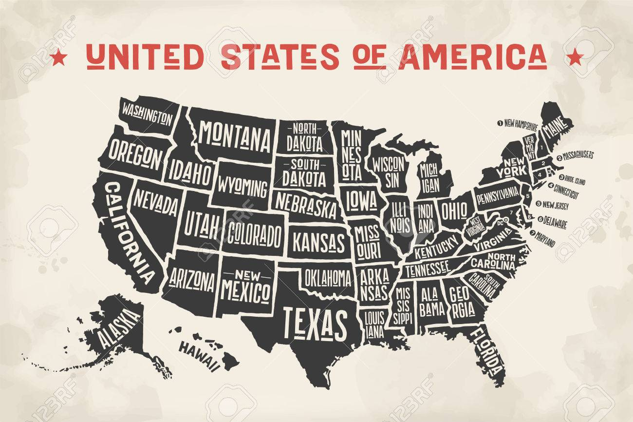 Poster Of Usa Map.Poster Map Of United States Of America With State Names Black