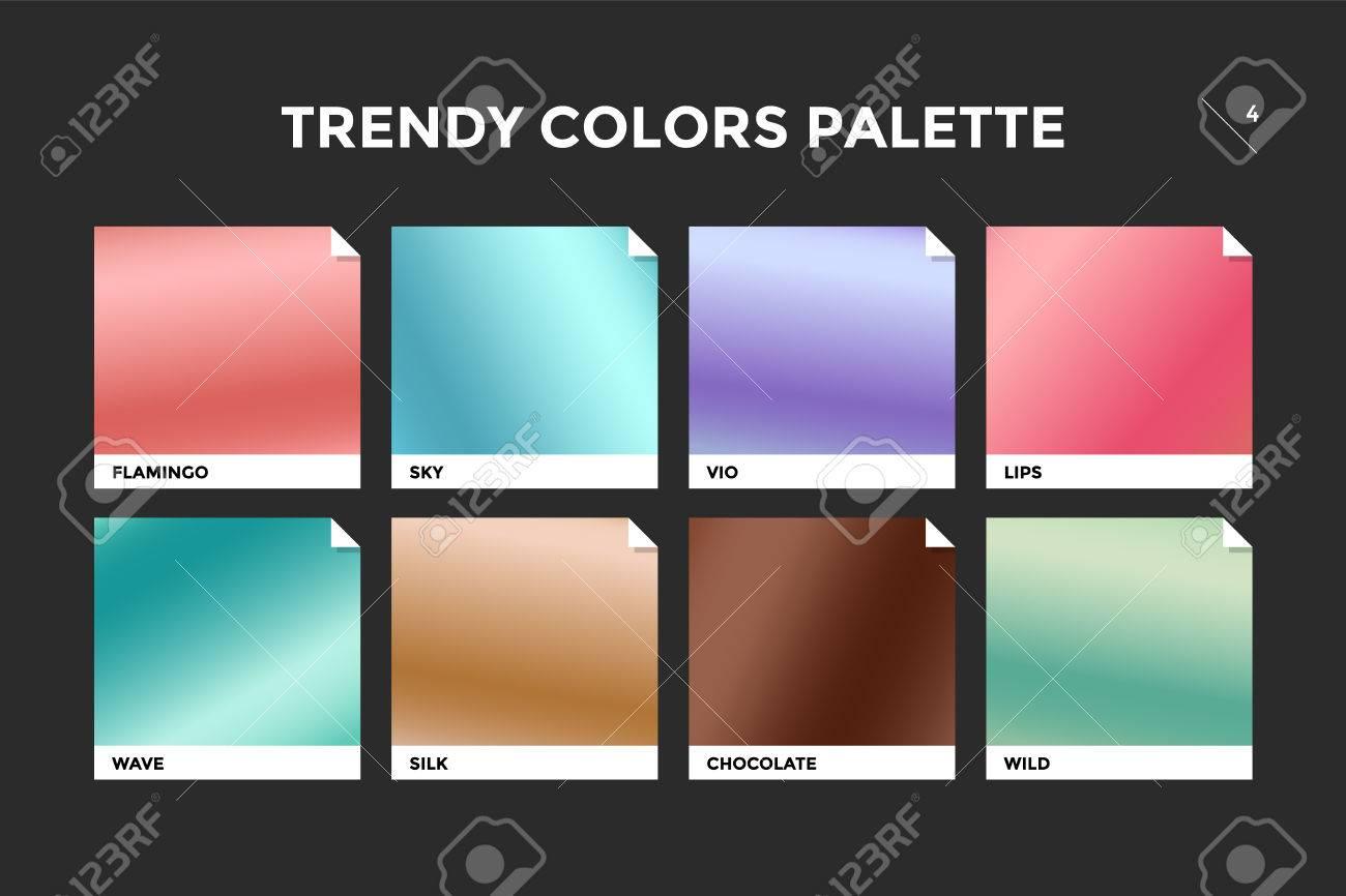 Conjunto De Plantilla De Degradado De Moda Colorido. Paleta De ...