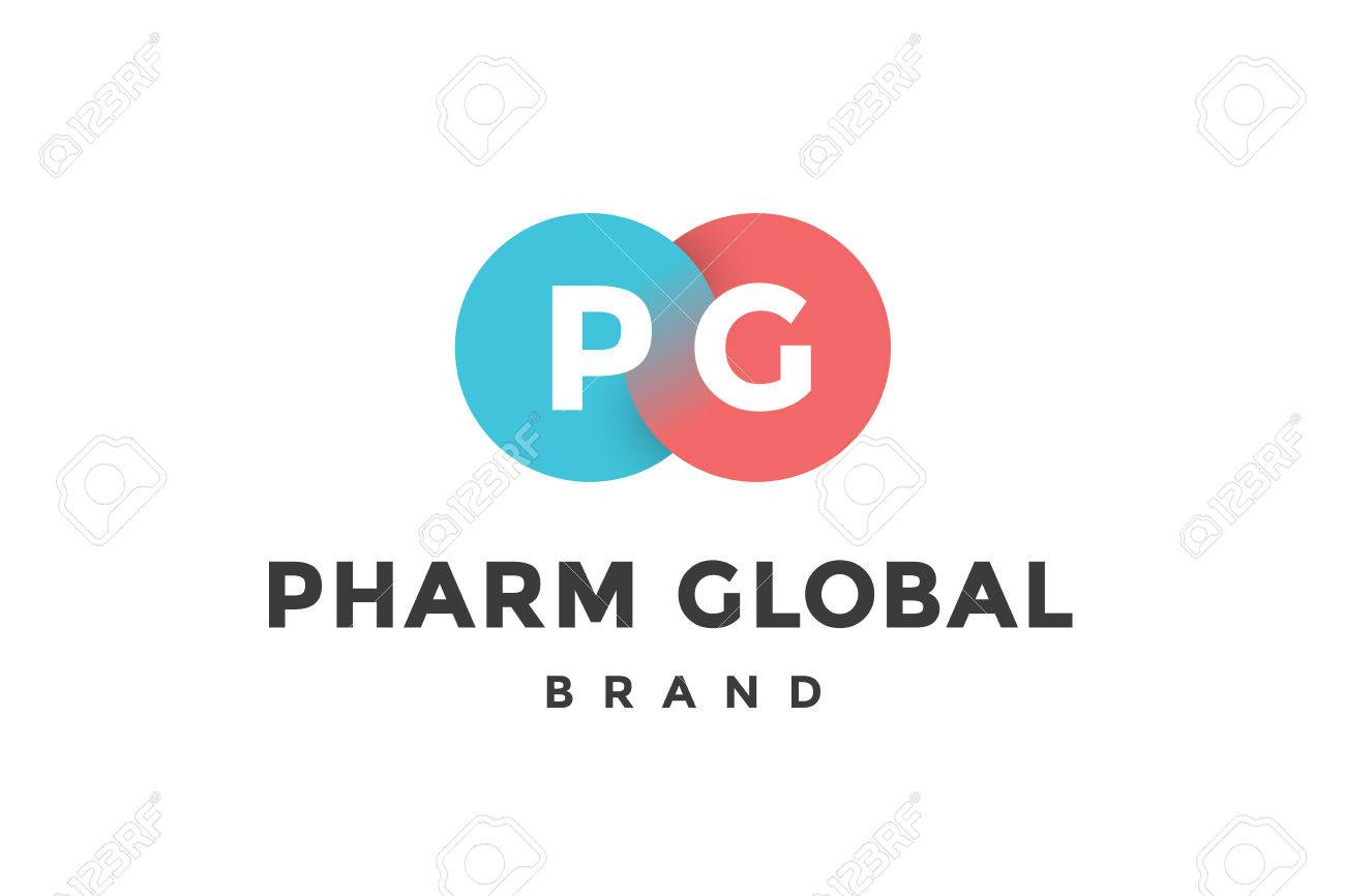 emblem of business company with two circle letter p g text pharm