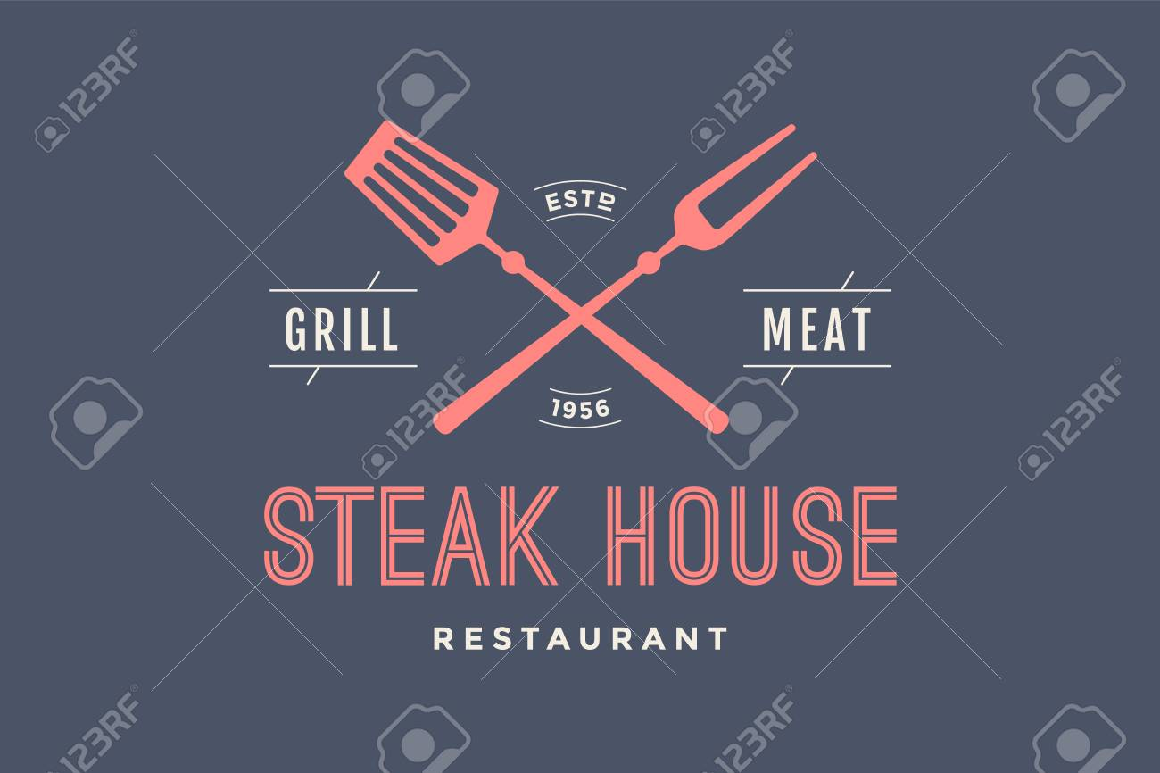 Logo of steak house restaurant with grill symbols text steak logo of steak house restaurant with grill symbols text steak house grill meat buycottarizona Image collections