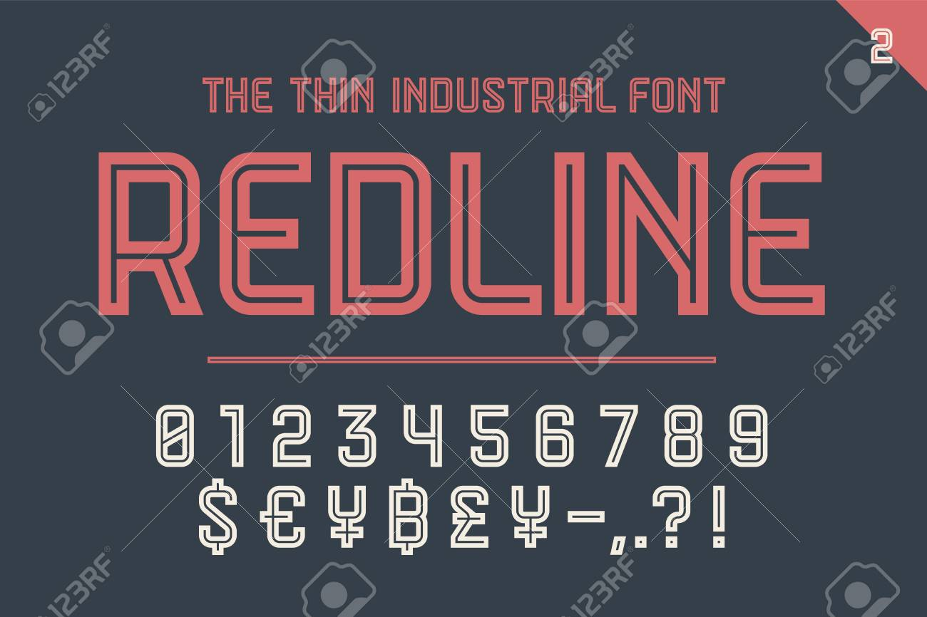 Numeric and symbol font Red Line  Part Two - Numeric, Numbers