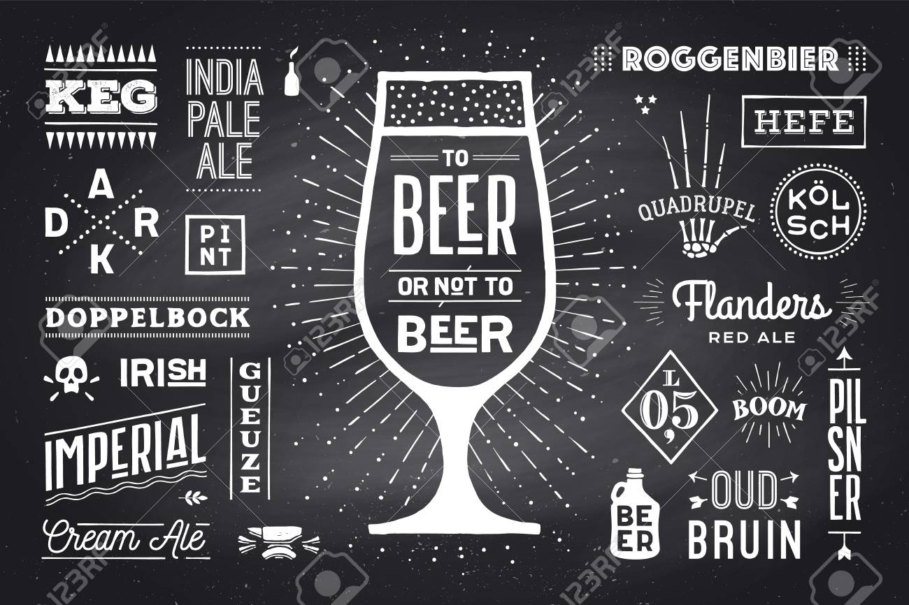 poster or banner with text beer or not to beer and names types