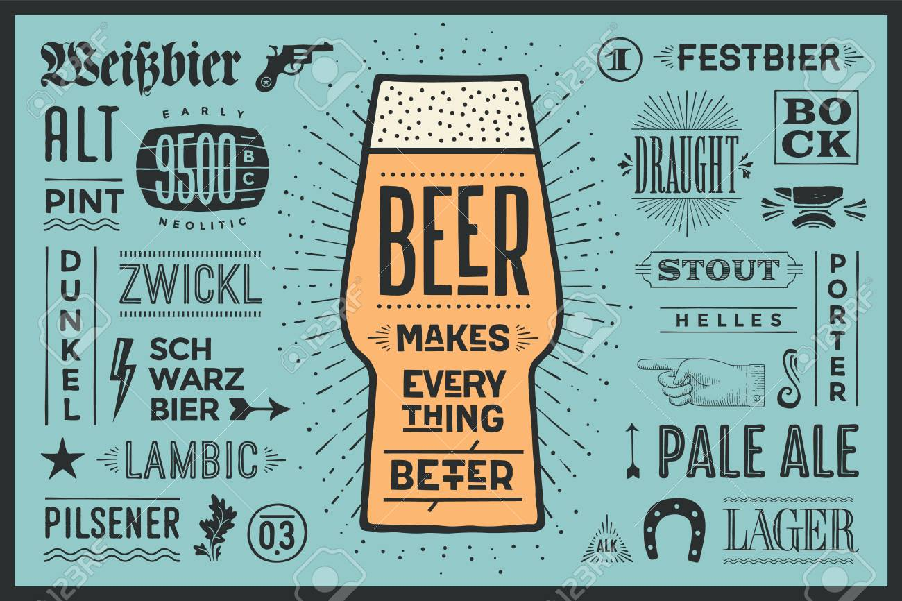 poster or banner with text beer makes everything better and names