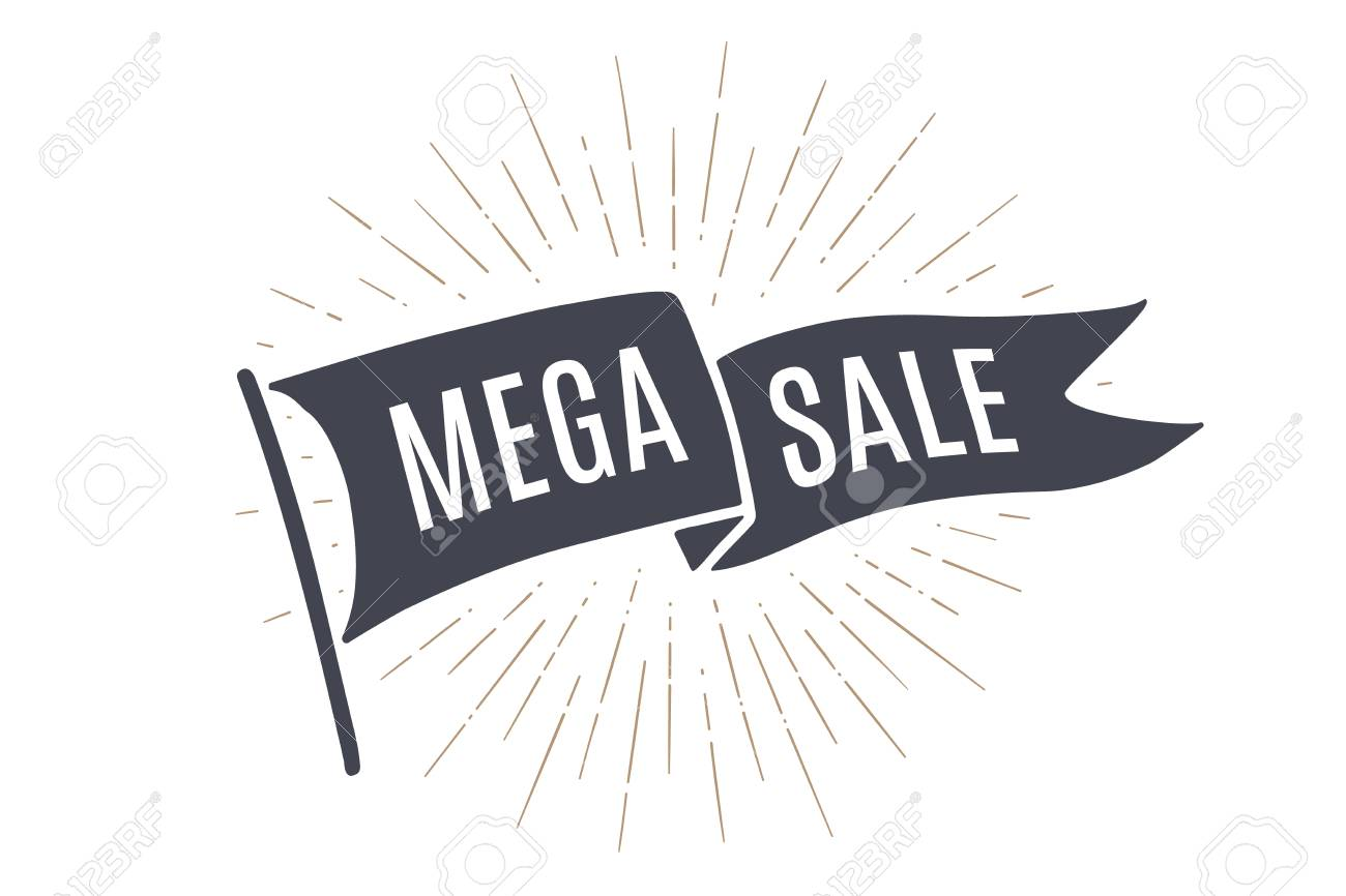 Flag Mega Sale Old School Banner With Text Big Ribbon In Vintage Style Linear Drawing Light Rays Sunburst And