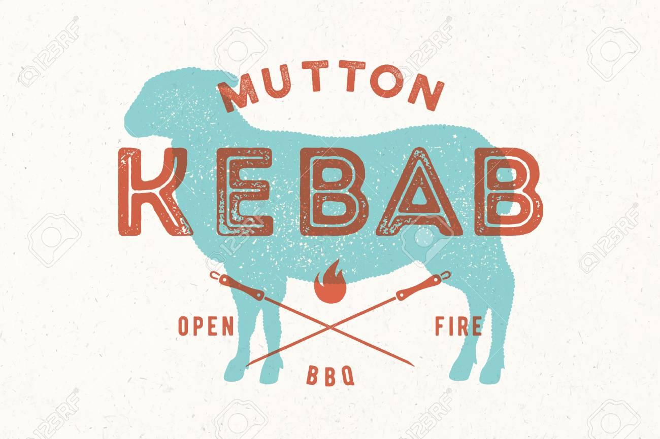 Lamb, Kebab. Vintage Logo, Retro Print, Poster For Butchery Meat ...