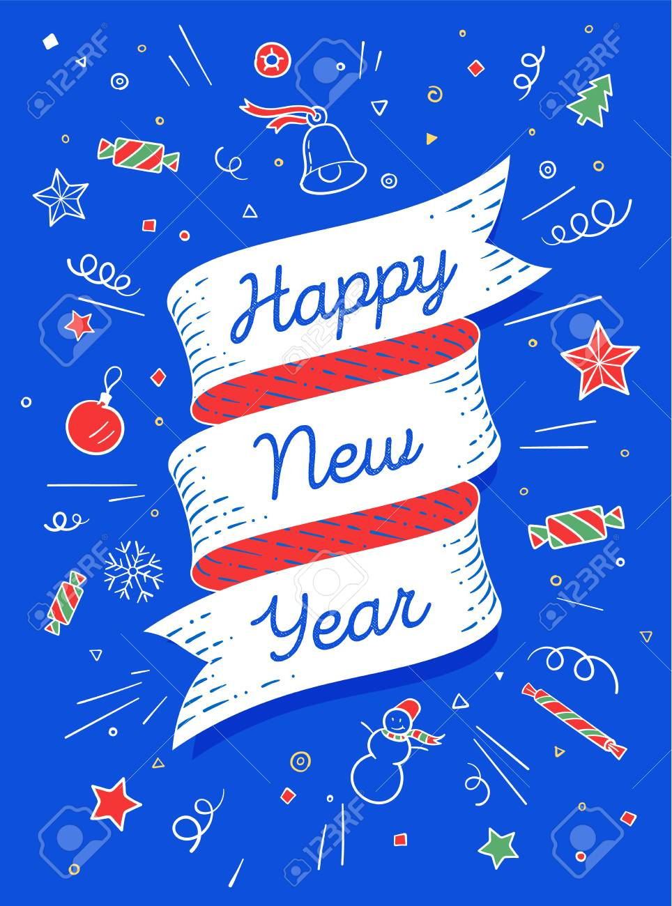 happy new year ribbon banner in bright colorful style with text happy new year and