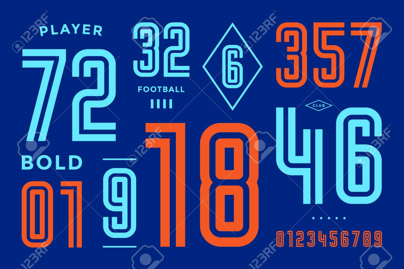 Numbers font  Sport font with numbers and numeric  Geometric