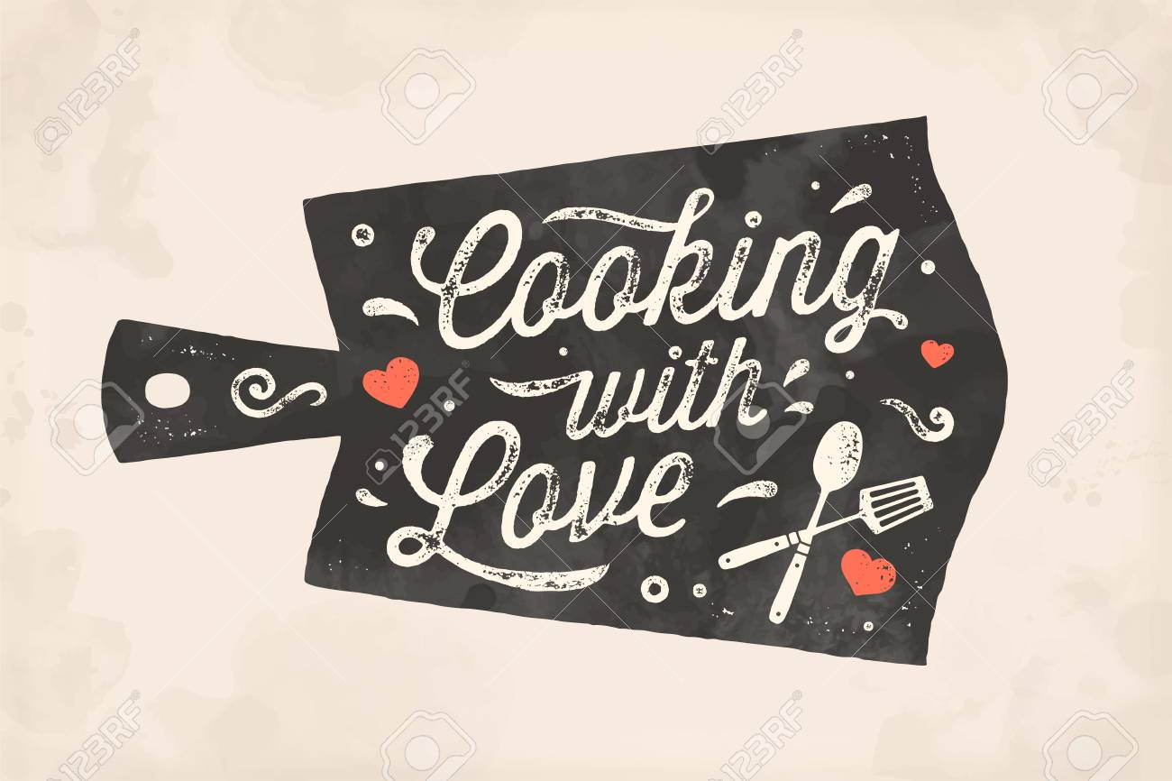 Cooking With Love Kitchen Poster Kitchen Wall Decor Sign Royalty Free Cliparts Vectors And Stock Illustration Image 129432441