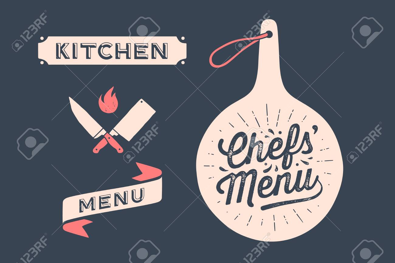 Set Vintage Graphic And Typography Cutting Board With Calligraphy Royalty Free Cliparts Vectors And Stock Illustration Image 128742875