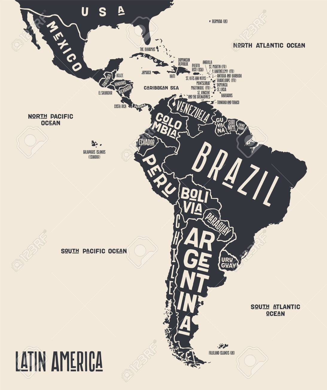 Map Of America Black And White Map Latin America. Poster Map Of Latin America. Black And White