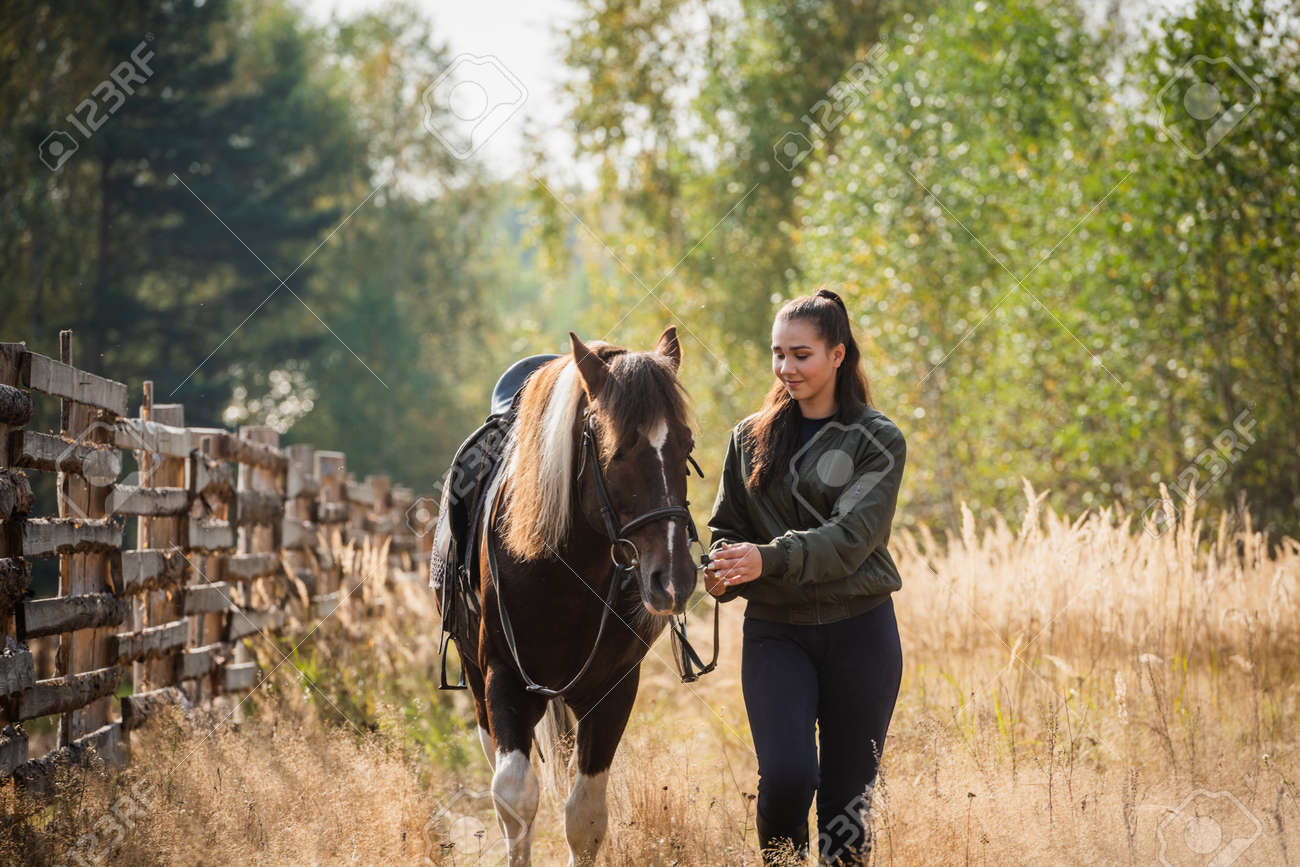 A young girl and her horse friend walk side by side along a hedge outside the city in autumn. - 160953174