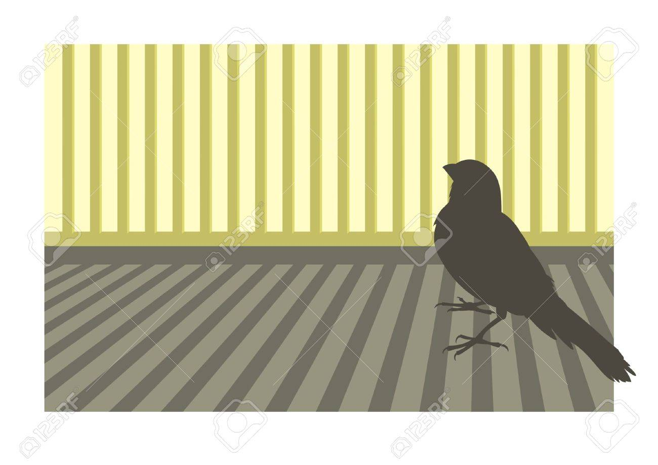 Canary bird silhouette with geometric background - 1885778