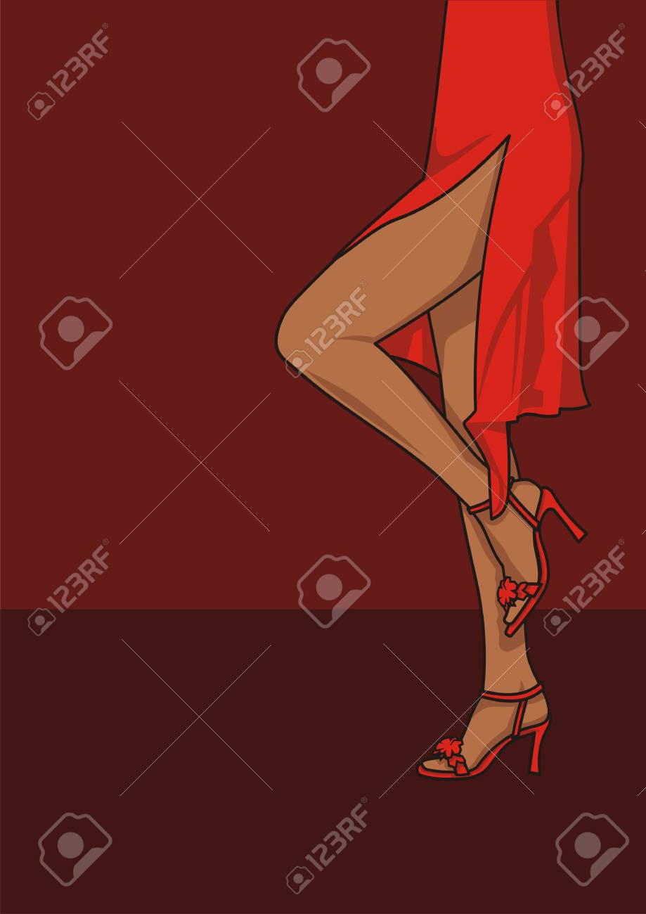 Illustration of a woman in a red dress - 2596451