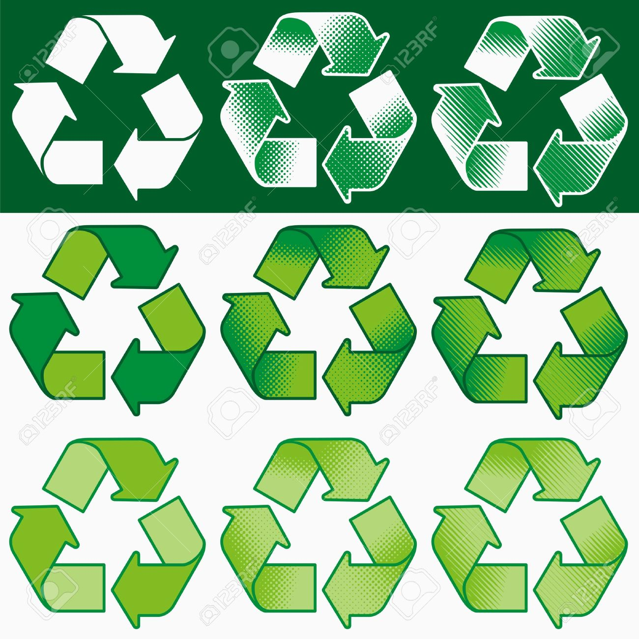 Vector recycling symbol with assorted coloring and shading options - 2626794