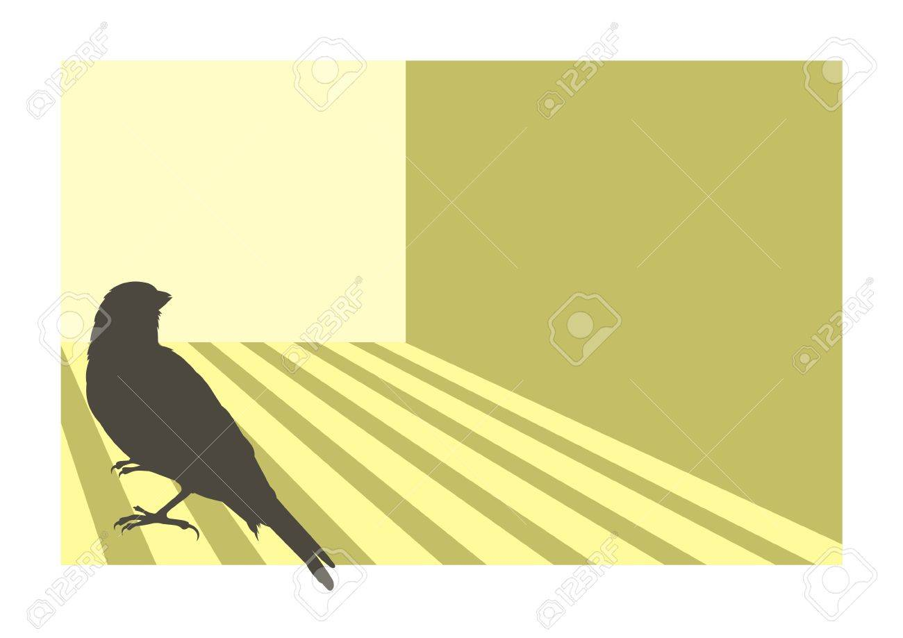 Canary bird silhouette with geometric background - 2626795