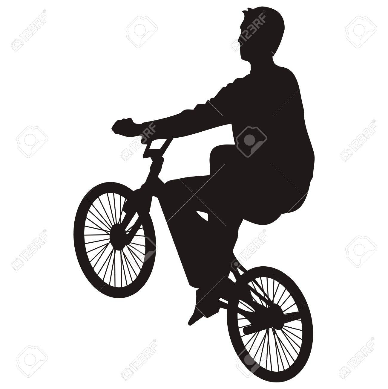 Bicycle rider silhouette isolated on white - 2705536