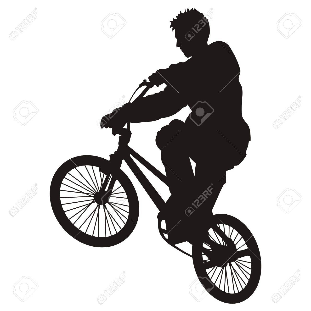 Bicycle rider silhouette isolated on white - 2705538