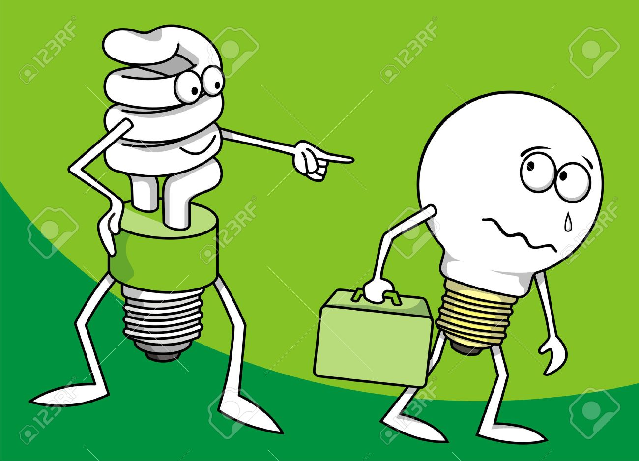 Incandescent light bulb persecuted by a fluorescent one Stock Vector - 2985975