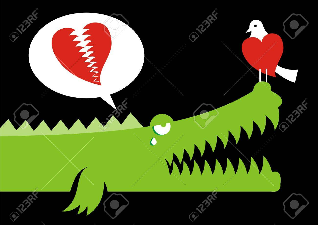 Alligator expressing his love for bird with crocodile tears - 2985973