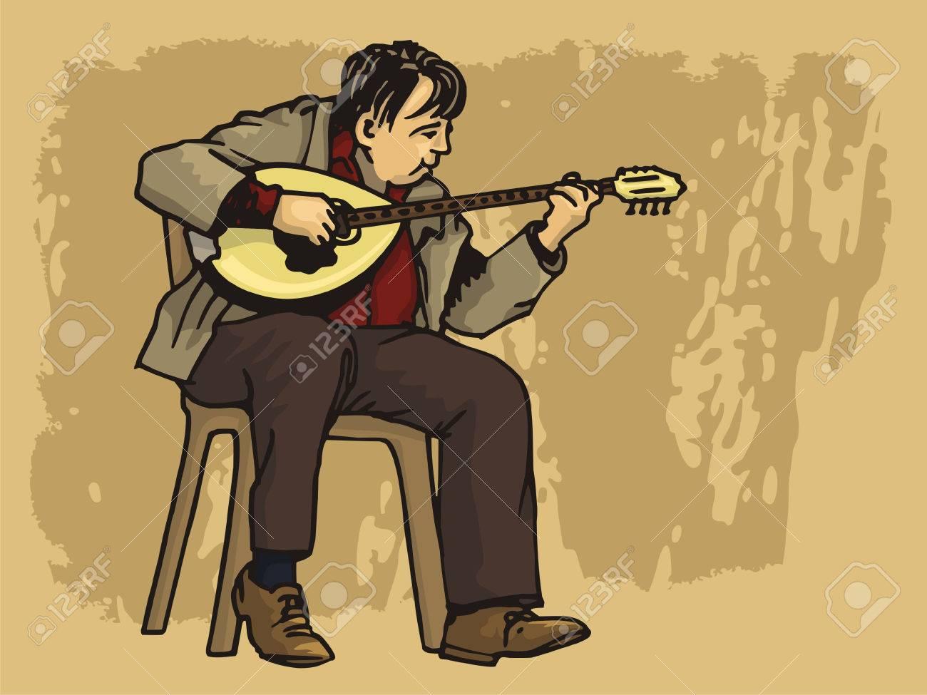 Middle aged man playing bouzouki on grunge background - 2985986