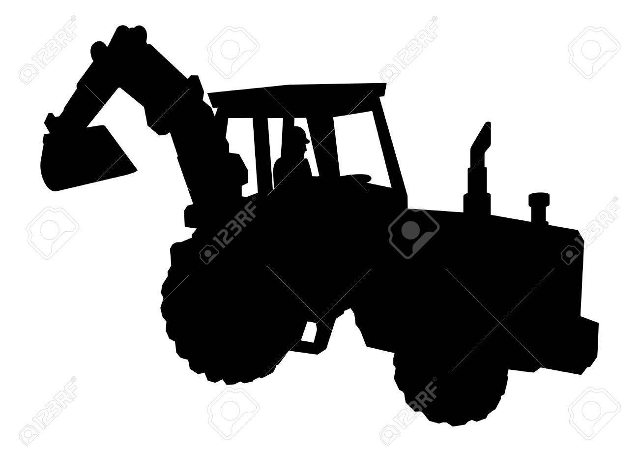Silhouette of excavator - 2985988