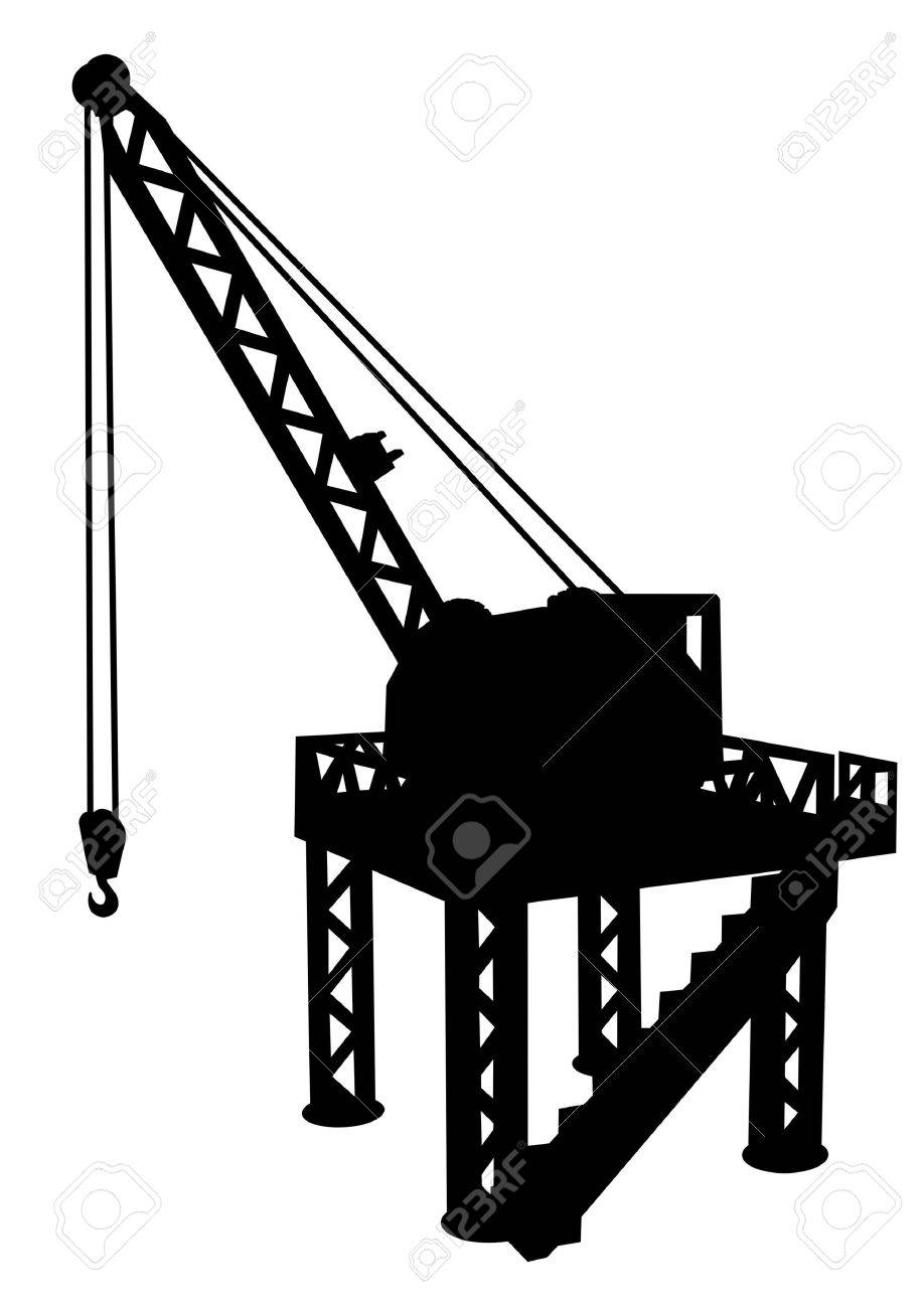 Silhouette of construction platform with crane - 2985977
