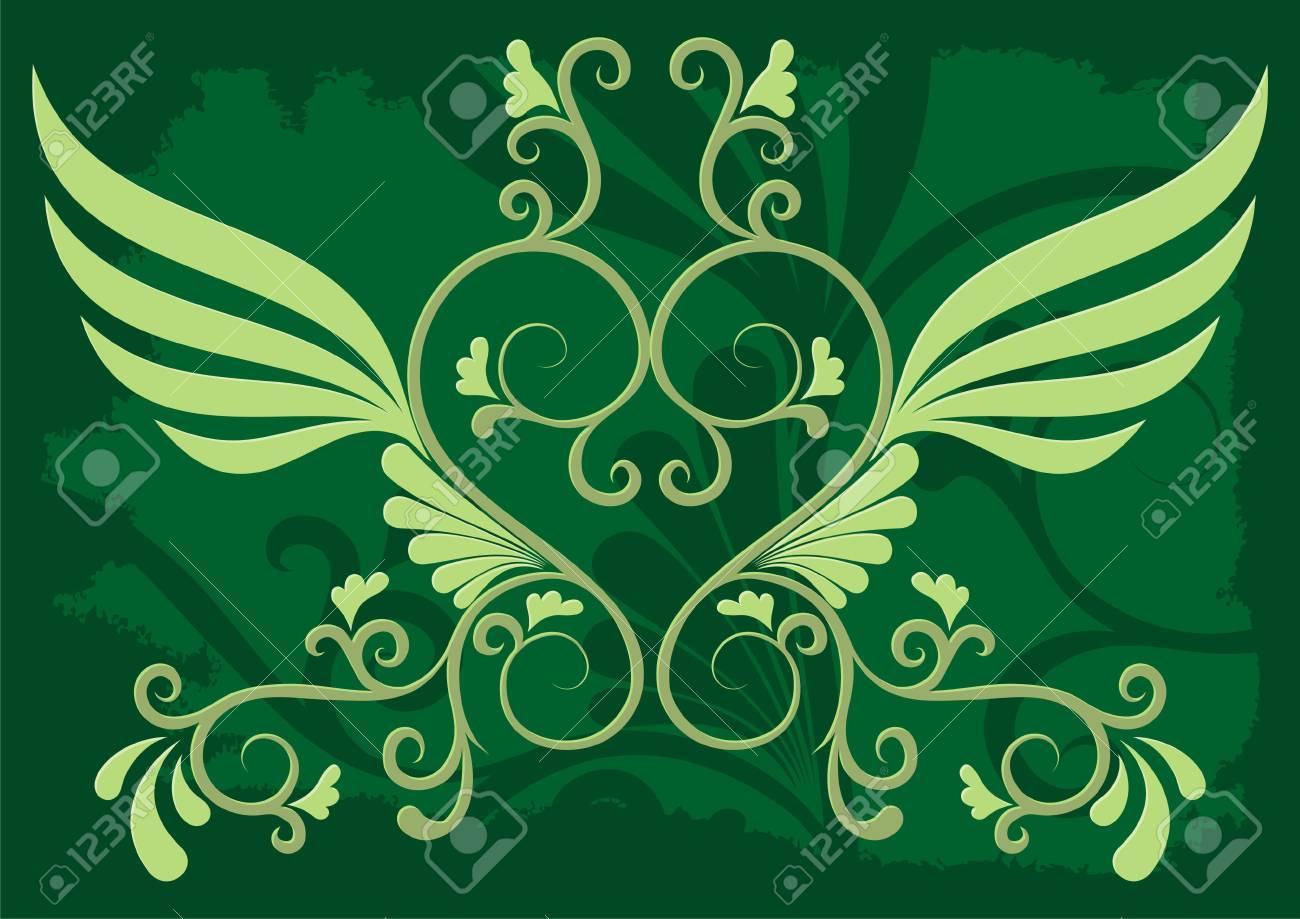 Decorative illustration on grunge dark green background - 2985984