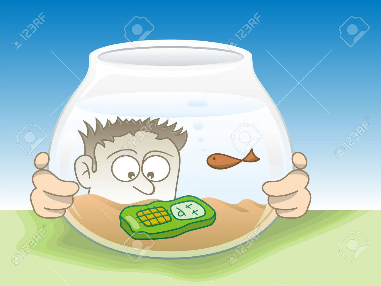 Cartoon illustration of a young man staring his drown cellphone. - 2985983