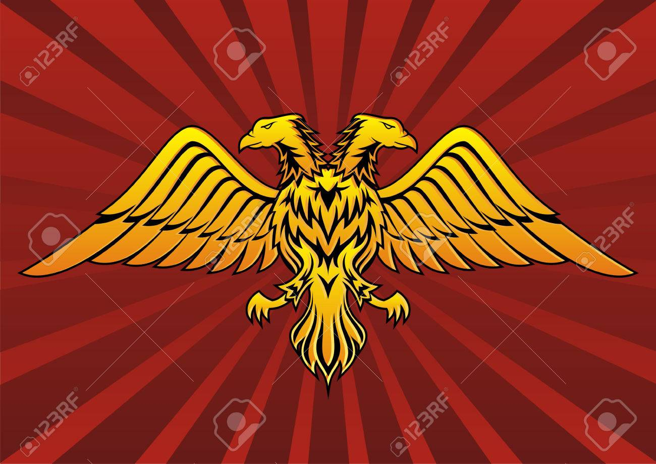 Double headed eagle in dark red background - 3021781