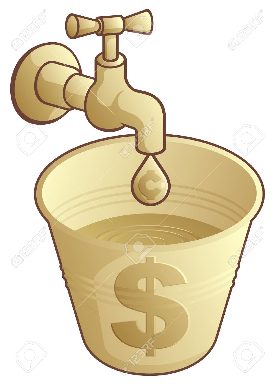 Golden tap dripping cents in a bucket of dollars - 3161129