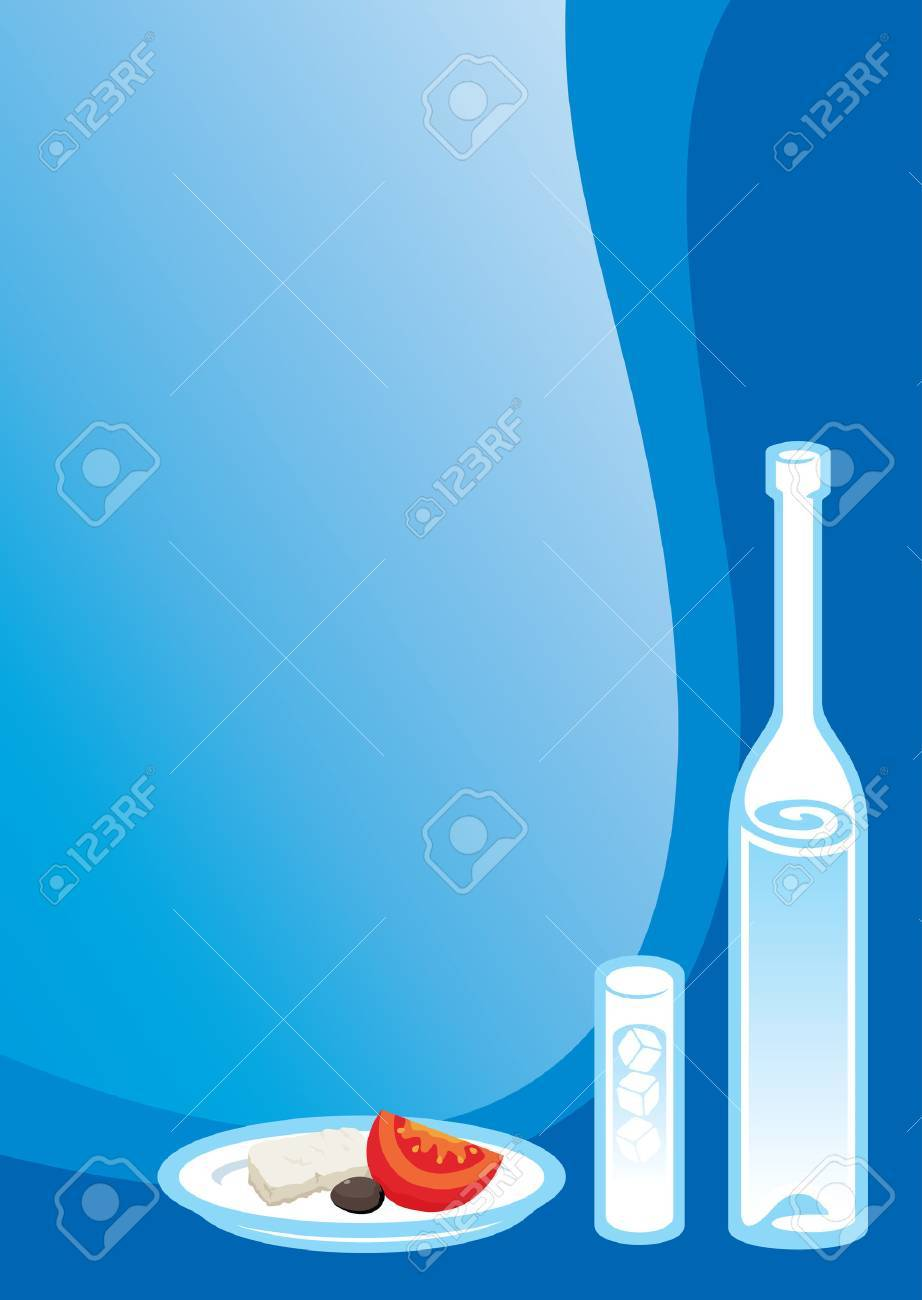 Ouzo glass and bottle with Greek snack - 3457779
