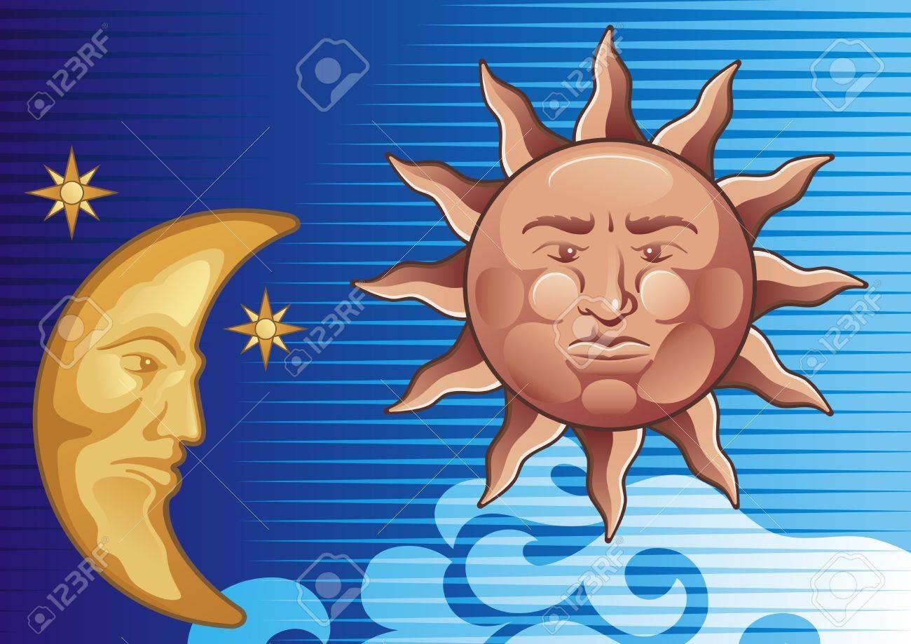 Sun and Moon decorative illustration background - 3483367