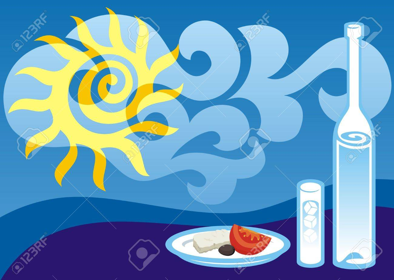 Greek summer background illustration with ouzo bottle and glass - 3483366