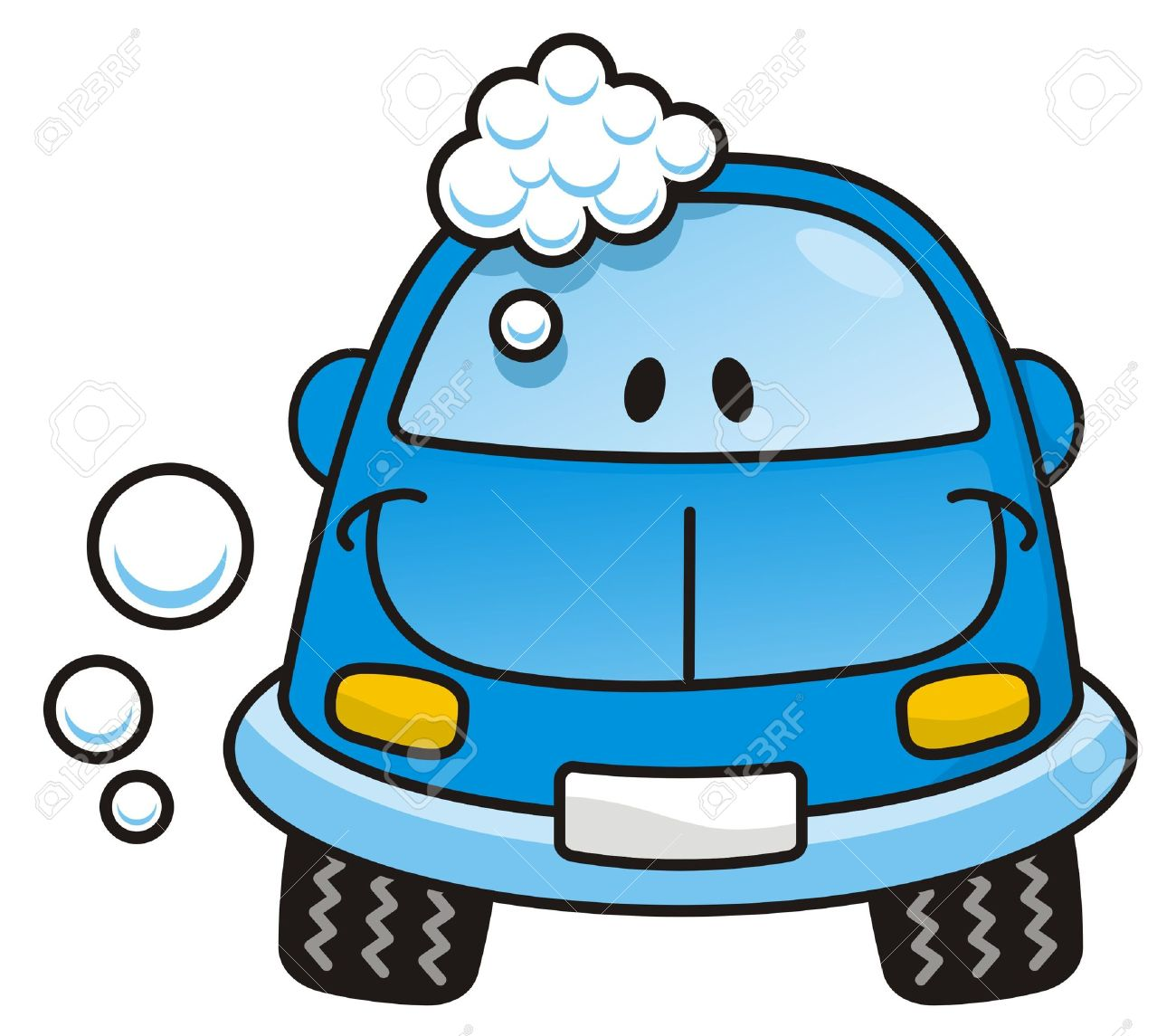 Happy blue cartoon car washing with soap bubbles - 3507621