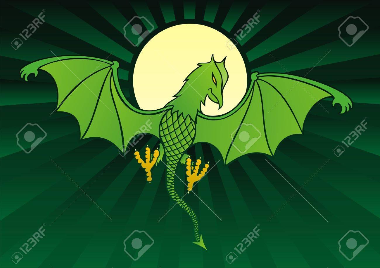 Green daemon on dark green background with full moon - 3605300