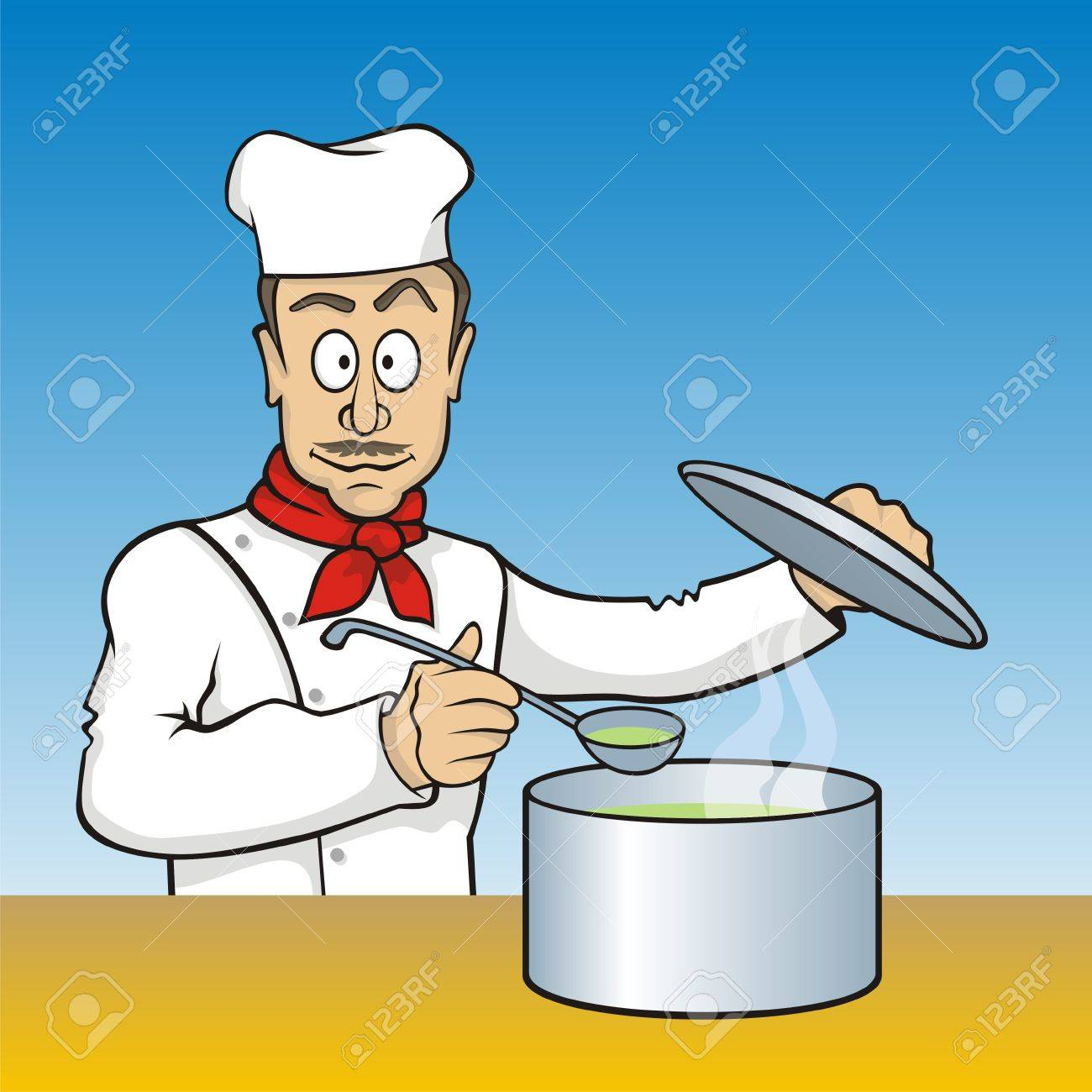 Cartoon Chef With Scoop Testing The Soup Royalty Free Cliparts ...