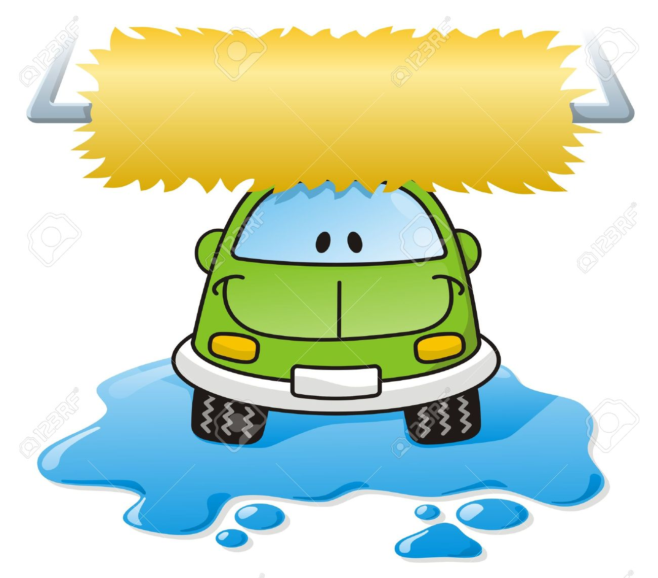 Cartoon car washing with roller brush and water splash Stock Vector - 3654295