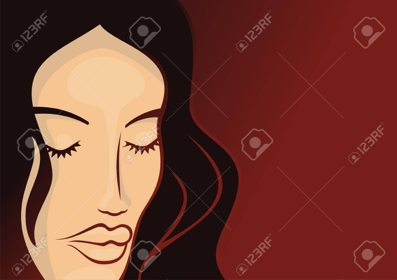 Young woman head with long hair on dark red background - 3654287