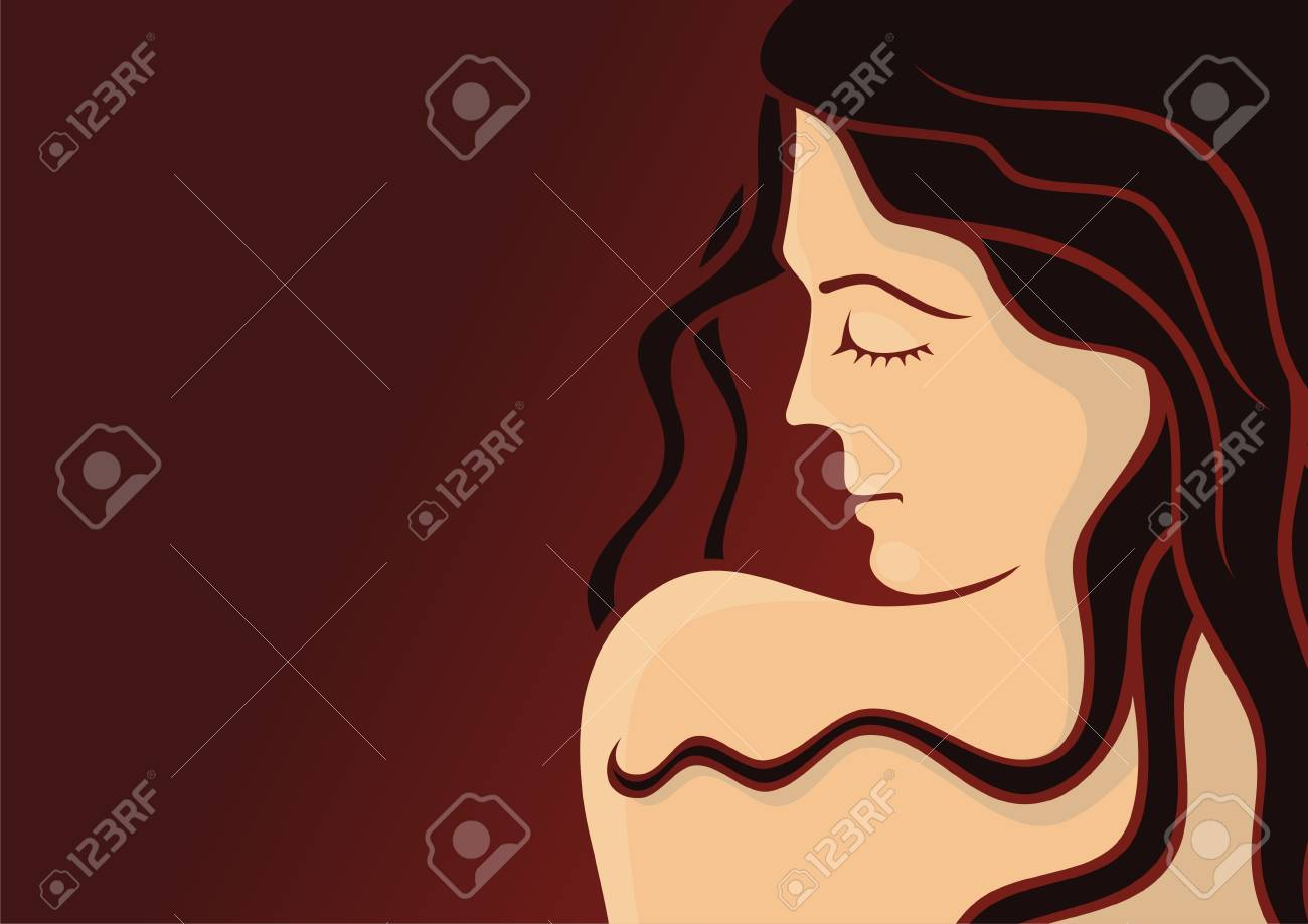 Young woman head with long hair on dark red background Stock Vector - 3654289