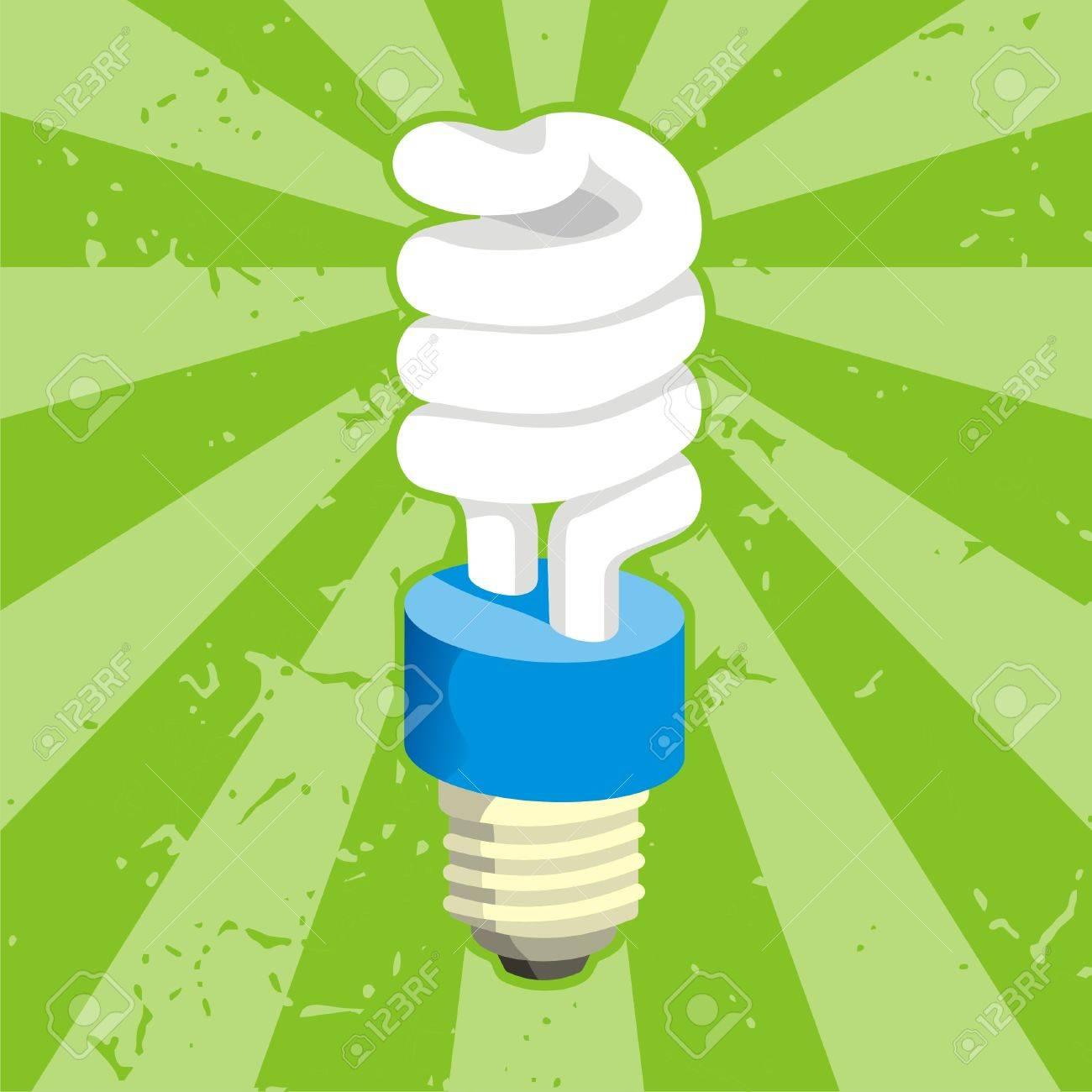Spiral compact fluorescent light bulb on grunge background - 3654297