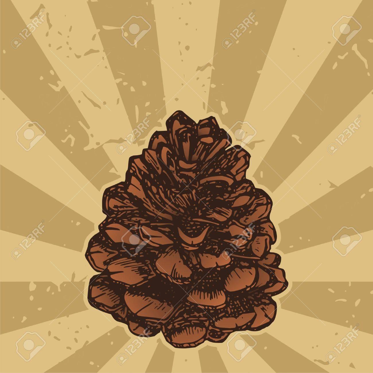 Pinecone sketch icon on grunge beige background - 3654298