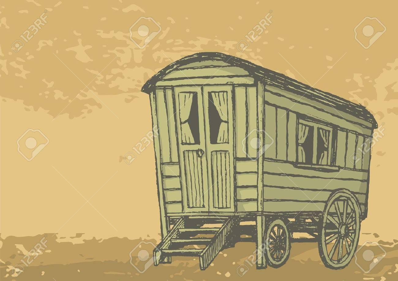 Sketch of gypsy caravan wagon colored in sepia tones - 4397601