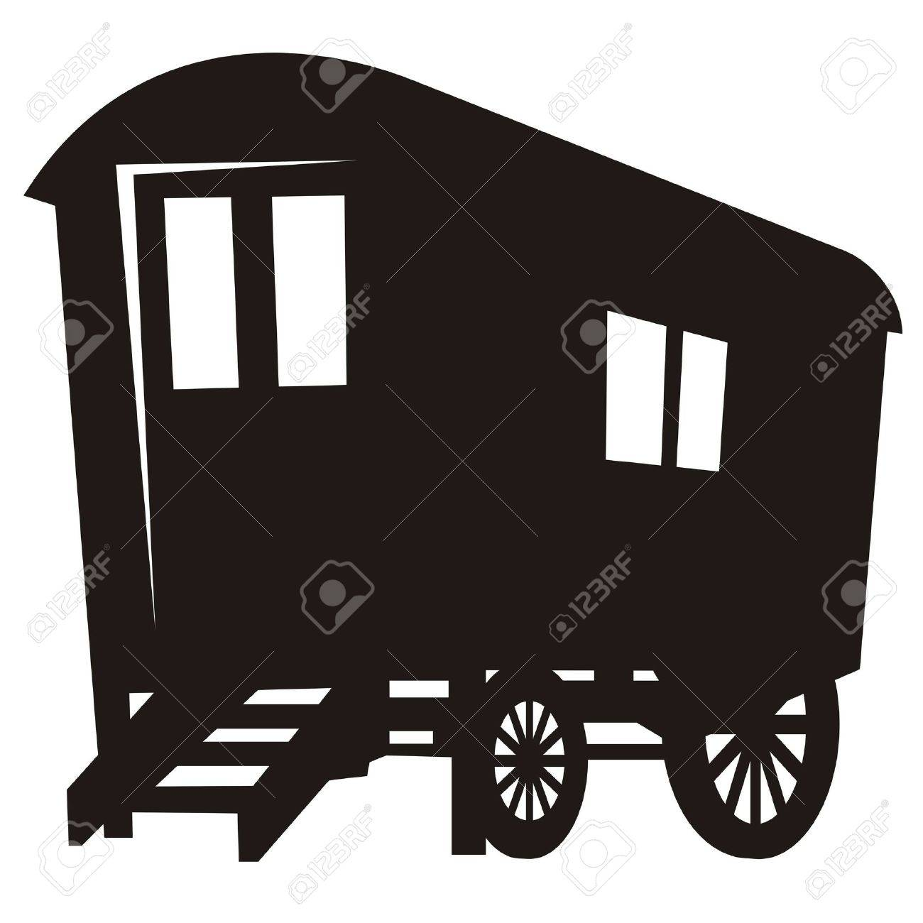 Vector silhouette of gypsy caravan wagon Stock Vector - 4397598